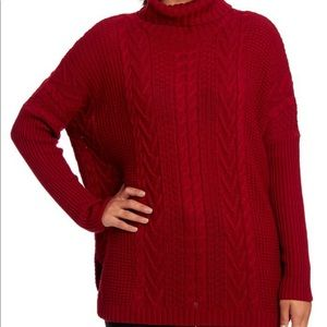 Joseph A Small Sweater Red Turtleneck Cable Knit
